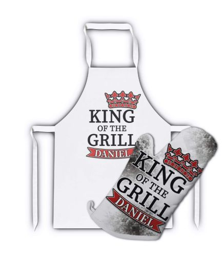 Personalised King of The Grill Cool White Adult Apron & Matching Oven Glove